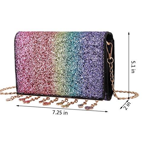 Colorful Liliam Party Bag Clutch Prom Girls Shiny Women for Wedding Handbag Elegant Crossbody Shoulder pHpOPwxq
