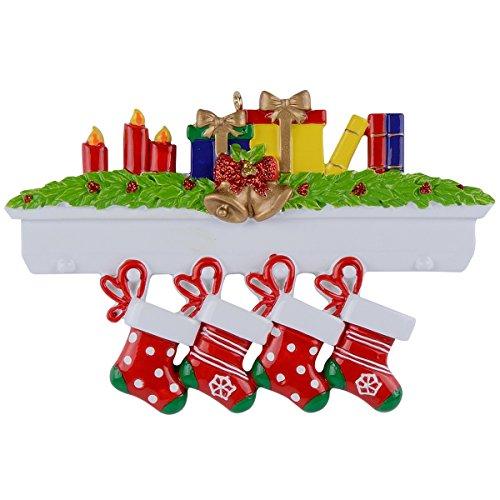 (WorldWide Mantel Stockings Family Ornaments 4)