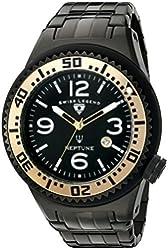 Swiss Legend Men's 'Neptune Force' Quartz Stainless Steel Casual Watch, Color:Black (Model: 21819P-BB-11-GA)