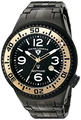 Swiss Legend Men's 'Neptune Force' Swiss Quartz Stainless Steel Casual Watch, Color Black (Model: 21819P-BB-11-GA)