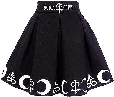 MRULIC Dress Women Ladies Girls Black Skirt Gothic Punk Witchcraft Moon Magic Spell Symbols Pleated Mini Skirt Pleated Dress
