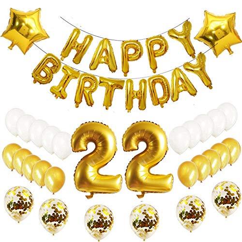 Oumezon 22. Globos de decoración de cumpleaños, Juego de 22 ...