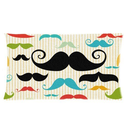 funny colorful Moustache design,fashion mustache pattern Two Side custom Pillowcase,pillowcover 20 X 36 Inch
