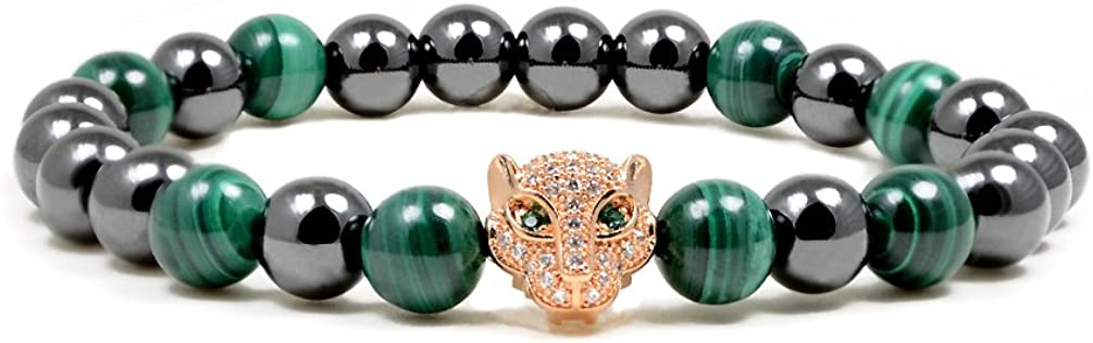 Accents Kingdom Magnetic Bracelet Leopard Head Healing Magnetic Therapy Bracelet for Arthritis and Carpal Tunnel