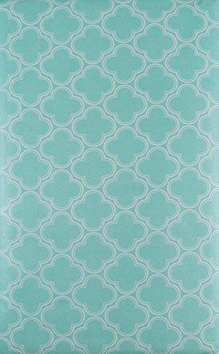 Quatrefoil Geometric Clovers Vinyl Flannel Back Tablecloth (Pale Aqua, 60