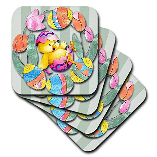 3dRose cst_167131_1 Cute Easter Chick and Eggs All Decorated Around Pretty Tulips-Soft Coasters, Set of 4 ()