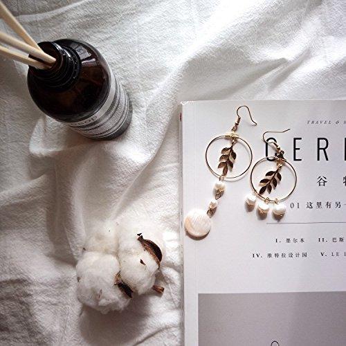 usongs Hand-made vintage pearl shaped leaves Baroque natural shell earrings asymmetric earrings elegant