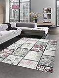 Designer carpet patchwork vintage living room carpet multicolor grey pink purple size 120x170 cm