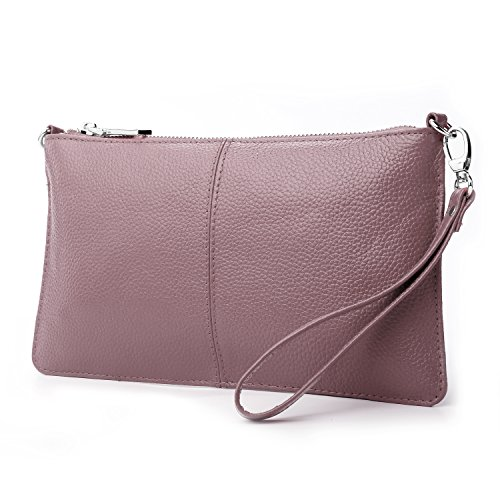 Lecxci Leather Crossbody Purses Clutch Phone Wallets with [Card Slots] for Women (Mauve)