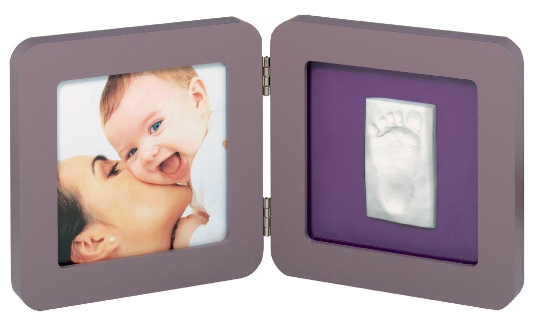 Marco doble para foto con material para huella de pie o mano color marr/ón y morado Baby Art 34120051 bordes redondeados