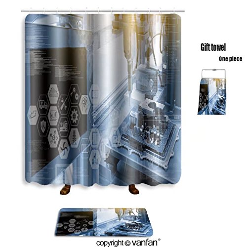 vanfan bath sets with Polyester rugs and shower curtain industry concept industry graphic sign and bl shower curtains sets bathroom 72 x 84 inches&31.5 x 19.7 inches(Free 1 towel and 12 hooks)