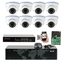 GW Security 5MP 1920p 8 Channel NVR Network Security Camera System - 8 x HD 5MP 1080P 2.8~12mm Varifocal Zoom Weatherproof Dome PoE IP Camera