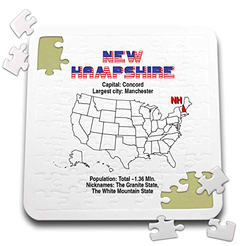 3dRose Alexis Design - American States - New Hampshire State of The USA, American map, Facts, Useful info - 10x10 Inch Puzzle ()
