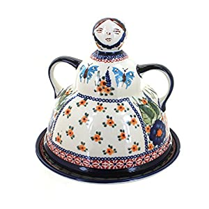 Blue Rose Polish Pottery Floral Butterfly Cheese Lady