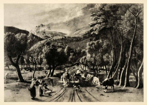 1939 Photogravure Jan Siberechts Crossing Ford River Landscape Horse Carriage - Original - Crossing Carriage