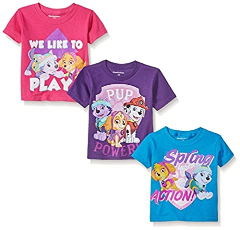 Paw Patrol Little Girls' Toddler 3-Pack T-Shirts, Pink/Purple/Blue, 3T - Toddler Purple Character T-shirt
