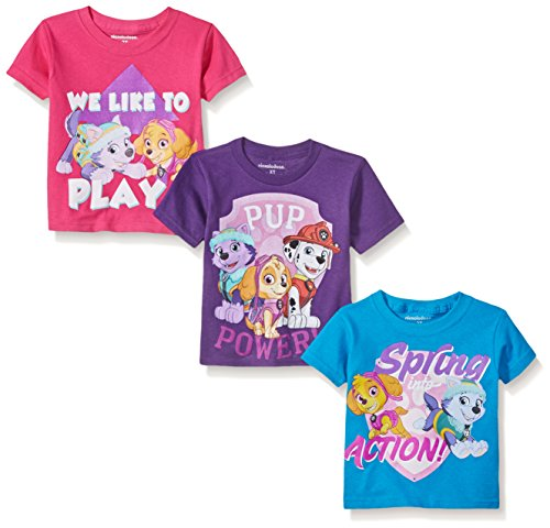 Nickelodeon Paw Patrol Little Girls' Toddler 3-Pack T-Shirts, Pink/Purple/Blue, 5T (Toddler Purple Character T-shirt)