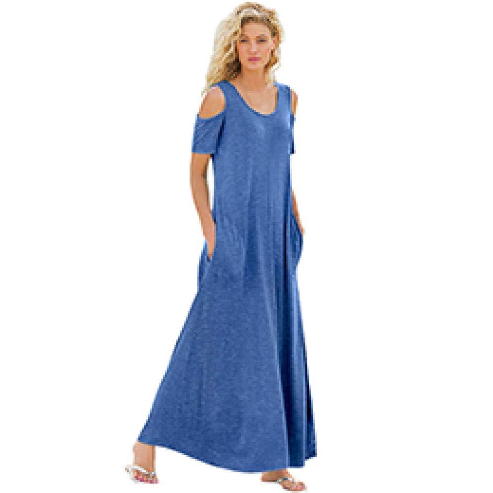 bluee Dress for Women,Summer Woman Dress Off The Shoulder Maxi Dress Ladies Solid color Cold Shoulder Pocket Style Long Dress Robe Femme