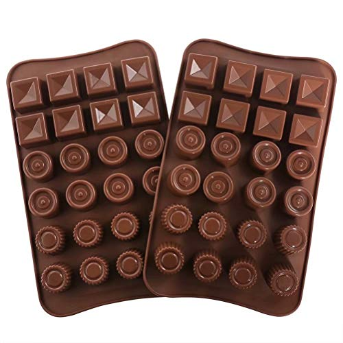 77L Chocolate Molds, Set of 2 [24 Cavity Round & Square Shape Mold], Silicone Chocolate Molds for Home Baking - Reusable DIY Baking Molds for Candy, Chocolate, Jelly or More (Brown)