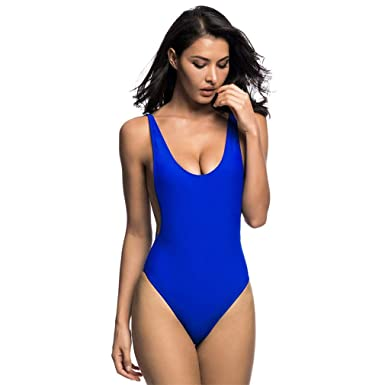 2a25de2891acb Yonyiu New Sexy Low Back Swim Suit for Women Swimwear One Piece ...