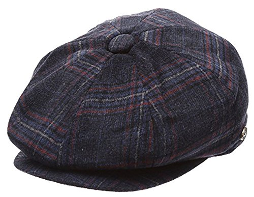 (Men's Classic 8 Panel Wool Blend Newsboy Snap Brim Collection Hat (Large, 2321-Dark blue Plaid))