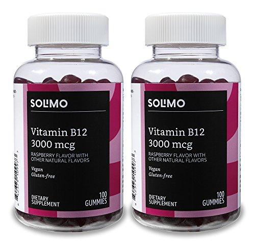 Amazon Brand - Solimo Vitamin B12 3000 mcg, 100 Gummies, 2 Gummies per Serving (Pack of 2)