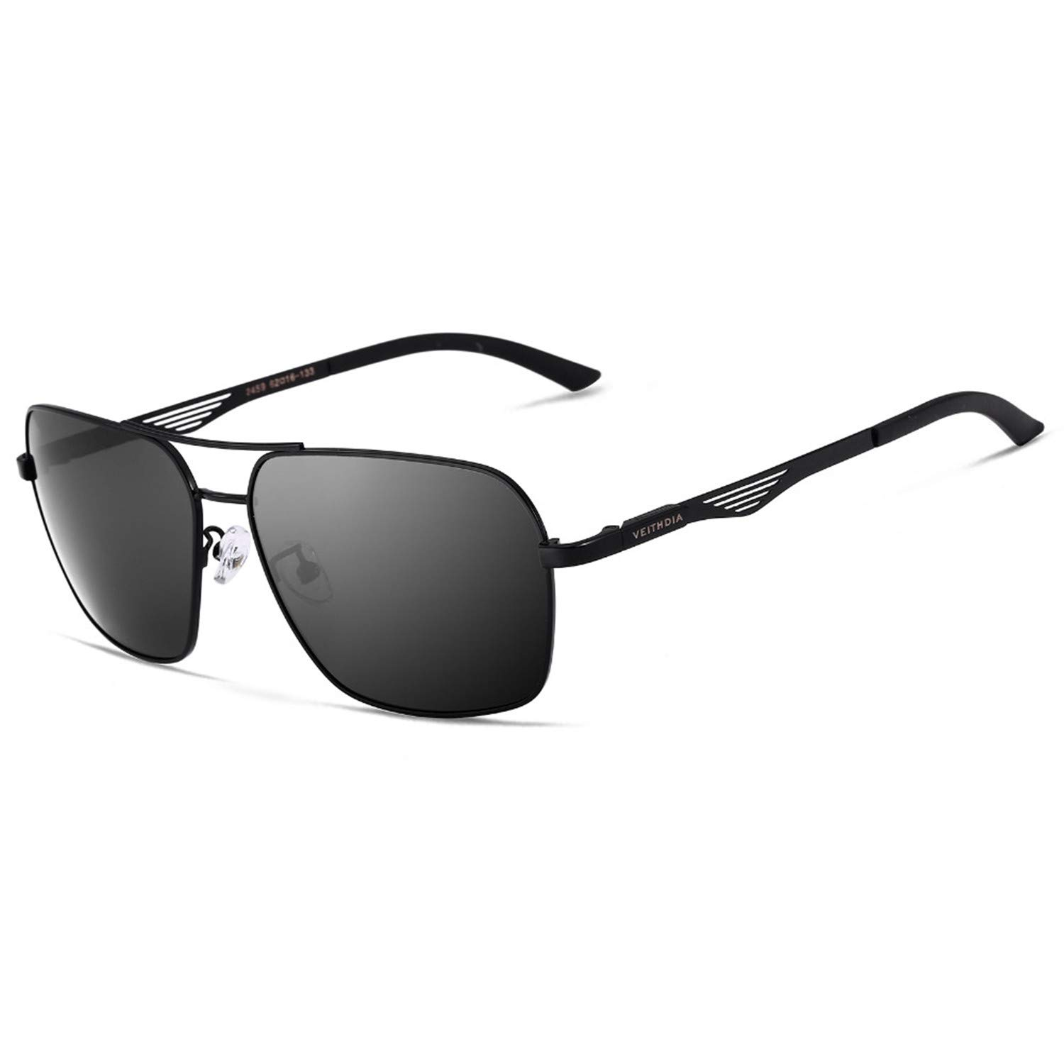 2ac10286bc03 Amazon.com: Polarized Men's Square Vintage Sun Glasses Male Eyewear  Accessories Sunglasses For Men gafas oculos de sol 2459 (Black): Clothing