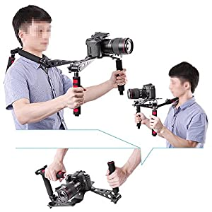 Neewer Foldable DSLR Rig Movie Kit Film Making System Shoulder Rig Mount / Shoulder Support Pad for Digital SLR Camera and Camcorder / such as Canon 5D Mark II III 1D 7D 60D 700D 650D 600D 550D Rebel T5i T4i T3i T2i Nikon D4 D800 D700 D300 D90 D5000 D7000 D7100(Red)