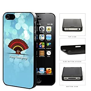 Happy Thanksgiving Cute Turkey On Blue Background iPhone 4 4s Hard Snap on Plastic Cell Phone Case Cover