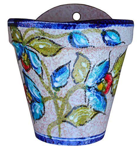 Wall Hanging Flower Pot (Blue Corazon) – Hand Painted in Spain