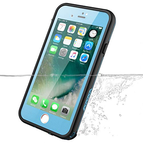 (iPhone 7 iPhone 8 Waterproof Case,iThrough iPhone 7 iPhone 8 Protective Case with Screen Protector,Dust Snow Proof,Shockproof,Heavy Duty Carrying Underwater for Cover Case for iPhone 7/8 (Blue))