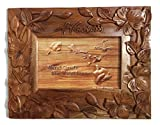 Koa Wood Handcrafted 4''x6'' Picture Frame, HAWAII Hibiscus Flower Design