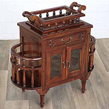MOREKO Bar Tisch Antik Stil Teetisch Massiv Holz Mahagoni Barschrank  Tablett Abnehmbar Beistelltisch