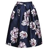 Women High Waist Peach Flower Floral Print Skater Pleated A-Line Midi Skirt