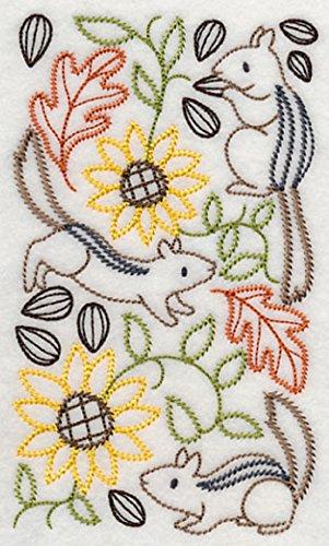 (Embroidered Kitchen Towel Chipmunk Sunflower Nut Design)