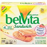 belVita Strawberry Yogurt Creme Sandwich Breakfast Biscuits (5 Count Box, 8.8 oz) (Pack of 6)