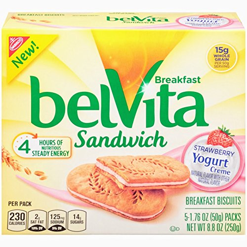belVita Breakfast Sandwich, Strawberry Yogurt Crème, 5 Count Box, 8.8 Ounce (Pack of 6) (Biscuit Yogurt)