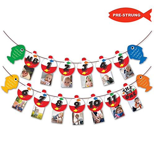 The Big One Bobber Gone Fishing Baby Monthly Photo Banner Little Fisherman First Year Milestone Boys Photo Props Party Cake Smash Decoration Supplies ()