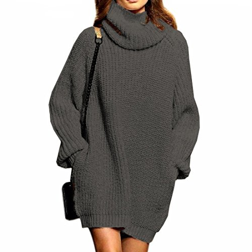 SSeary Sweater Dress for Women Cowl neck Cashmere with Pocket Thick Oversized Pullover Baggy Tops,Grey L (Sweater Wool Thick)