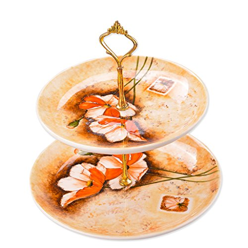 ZfgG Double-Layer Ceramic Fruit Basket Basket European Creative Fashion Basin Snack Stand Candy Dried Fruit Box Cake Tray (Color : B)