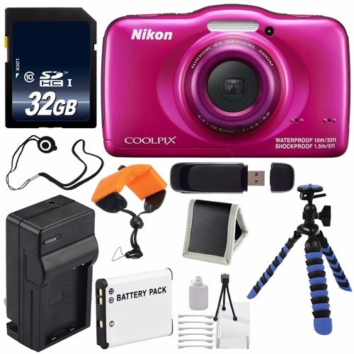 Nikon COOLPIX S33 Digital Camera (Pink) International Model + Replacement Battery + External Charger + 32GB Card + Floating Strap + 12-Inch Flexible Tripod + USB Reader + Cap Keeper For Sale