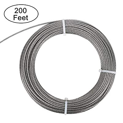 DasMarine Stainless Aircraft Steel Wire Rope Cable for Railing,Decking, DIY Balustrade, 1/8Inch,7x7