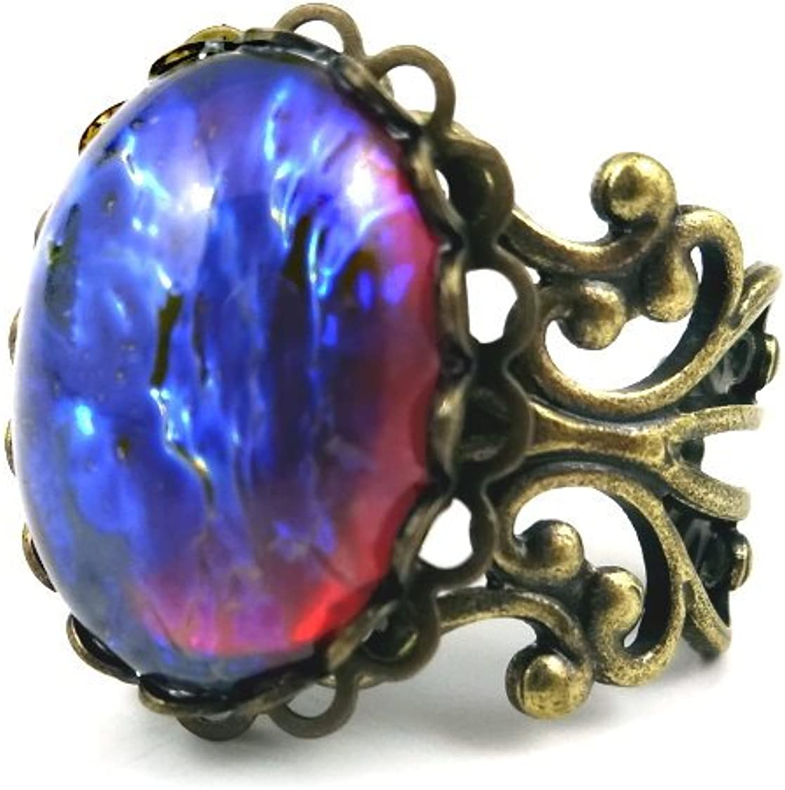 DRAGONS BREATH OPAL RING SILVER PLATED CZECH GLASS MEXICAN FIRE OPALIZED STONE WITH ADJUSTABLE BAND