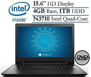 "2017 Flagship Lenovo Ideapad 15.6"" HD Premium High Preformace Laptop - Intel Quad-Core Pentium N3710, 4GB DDR3, 1TB HDD, DVDRW, 802.11ac, Bluetooth 4.0, Webcam, HDMI, USB 3.0, Windows 10"