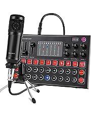 ALPOWL BM-800 - Kit de micrófono de condensador con tarjeta de sonido en vivo, brazo de tijera de suspensión ajustable, soporte de choque de metal y filtro pop de doble capa para grabación de estudio