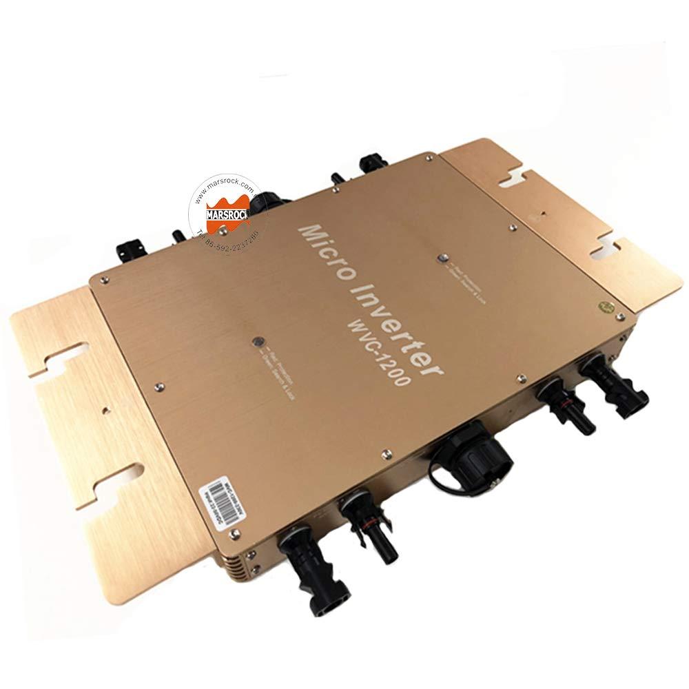 Marsrock IP65 Waterproof 1200W Micro Grid Tie Solar Inverter 22-50VDC to 80-160VAC Pure sine Wave Inverter for 4pcs 300W 30V or 36V Solar Panel System (120VAC Golden)