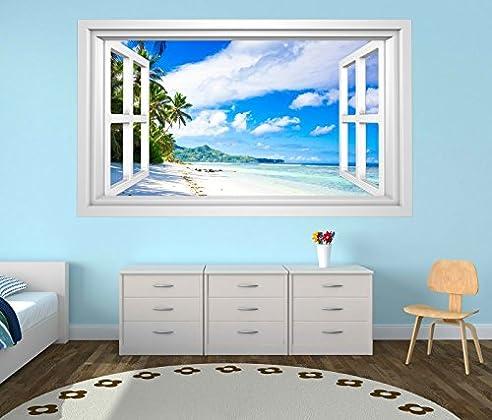 3D Wandtattoo Landschaft Malediven Strand Meer Bild Selbstklebend Wandbild Wandsticker Wohnzimmer Wand Aufkleber 11G065