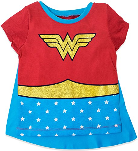 Wonder Woman Toddler Girls' Costume Tee Shirt with Cape Red (5T) by Warner Bros. (Image #1)