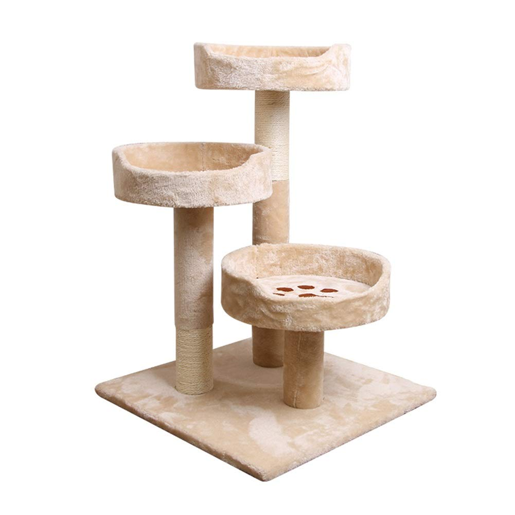 BeigeA-50x50x70cm SHIJINHAO-Cat tree Multi-layer Stable Cozy Sisal Grinding Claw Apartment Jump Platform Toy Activity Center, 4 colors (Size   BeigeA-50x50x70cm)