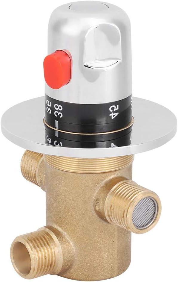 Grifo de 3 v/ías Dise/ño Ligero Anti-escaldado V/álvula de Control del Mezclador de Temperatura Control del termostato del ba/ño en el hogar Zerodis V/álvula de Mezcla termost/ática de lat/ón G1 2in